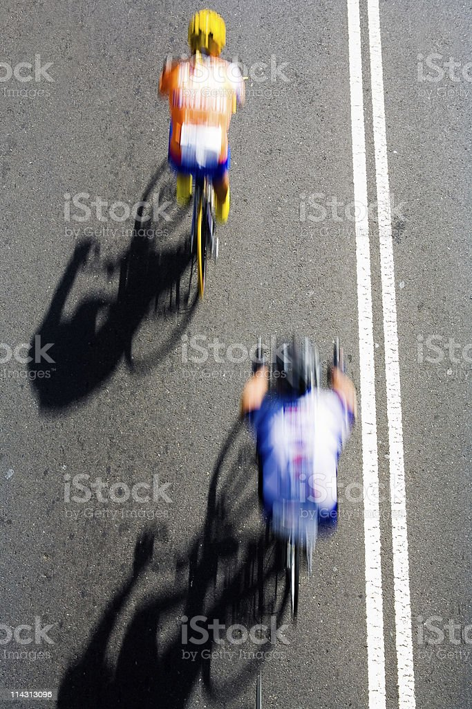 Two racing cyclists royalty-free stock photo