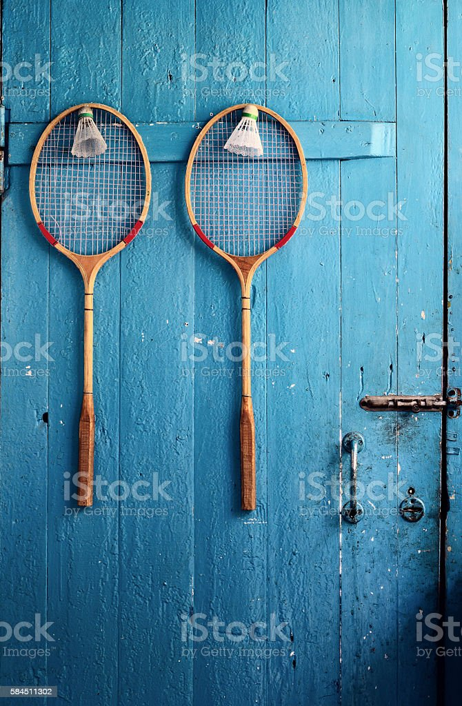 two rackets, two shuttlecocks stock photo