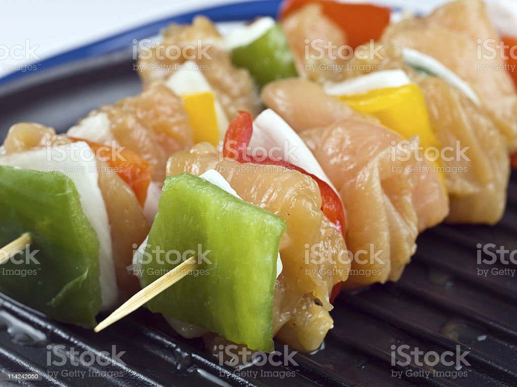 Two Raw Chicken Brochettes royalty-free stock photo