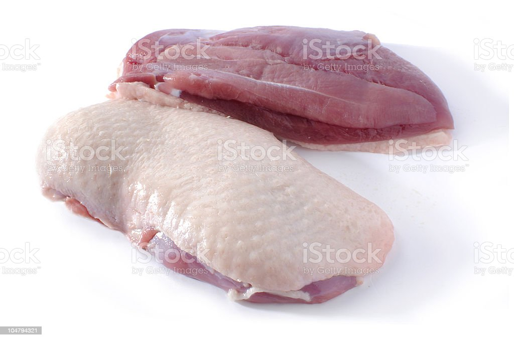 Two raw duck breasts with skin on white background royalty-free stock photo