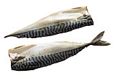 Two raw Fillets of mackerel fish isolated on white background