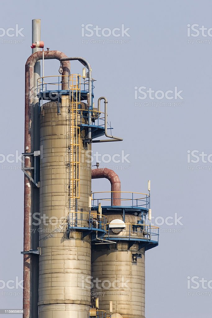 Two reactors of chemical plant royalty-free stock photo