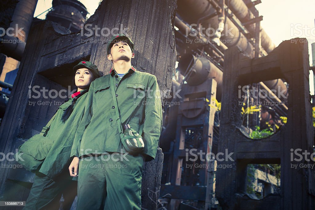 Two rebellions looking into the bright future stock photo