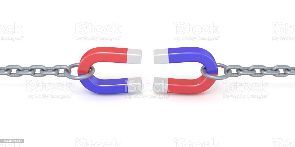 Two red and blue horseshoe magnet on chains 3D stock photo