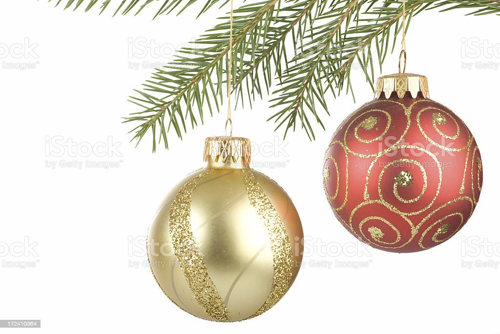 two red and gold Christmas ball ornaments isolated on white royalty-free stock photo