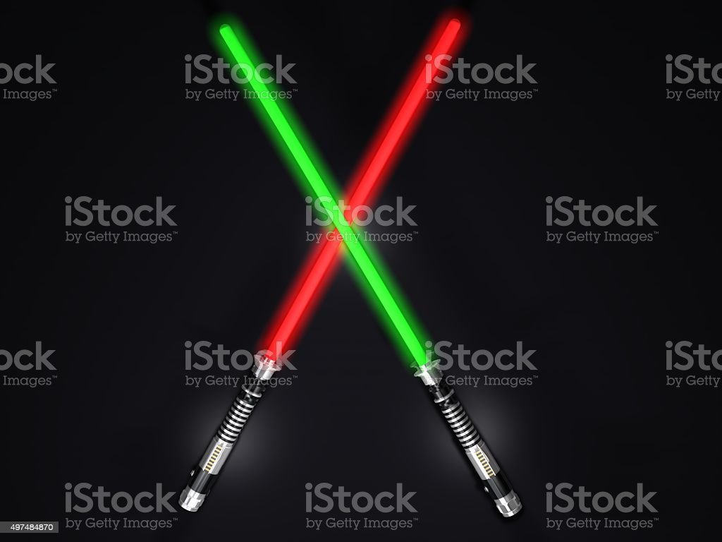 two red and green 3d light future swords fight stock photo