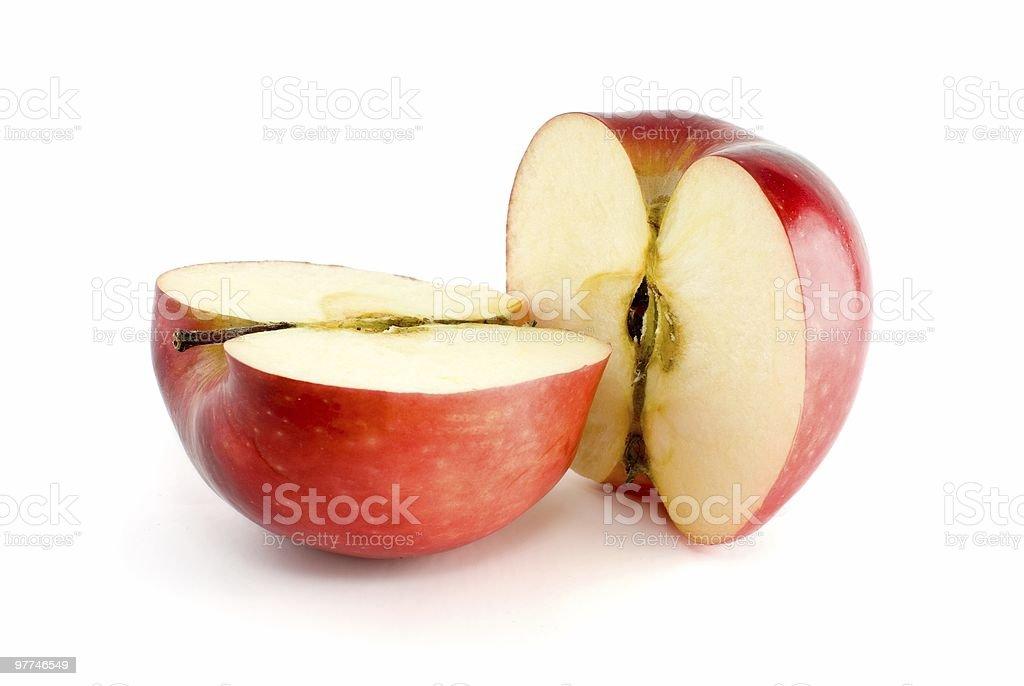 Duas metades de maçã vermelha foto de stock royalty-free