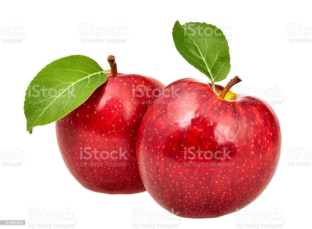 Two red apples with leaves stock photo