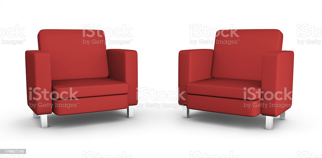 Two red armchairs stock photo