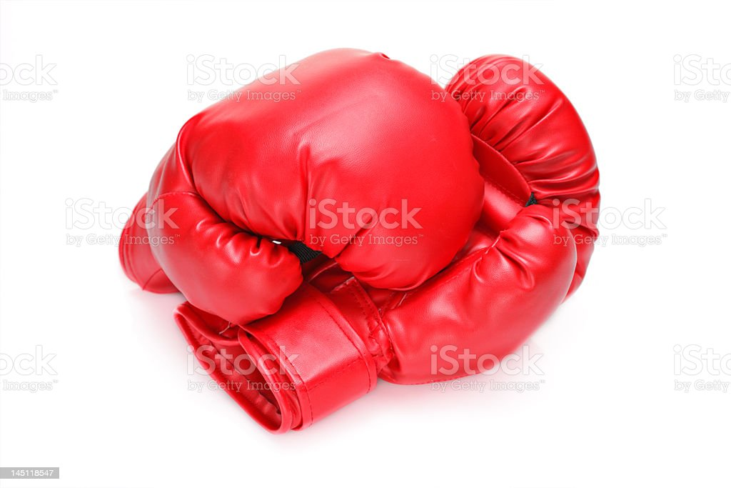 Two red boxing gloves isolated on white royalty-free stock photo