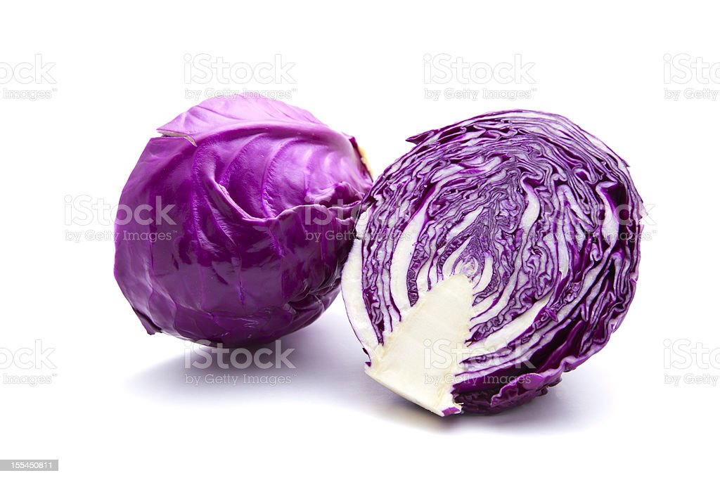 Two red cabbages isolated on white stock photo