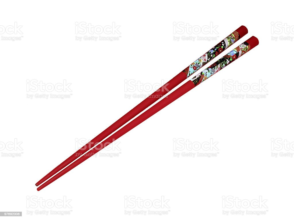 Two Red Chopsticks on White stock photo