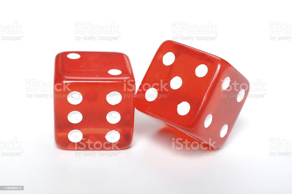 Two red dices on white background royalty-free stock photo