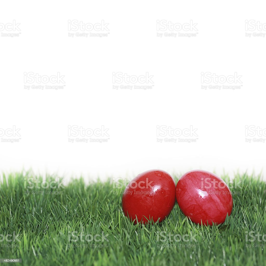 Two red Easter eggs stock photo
