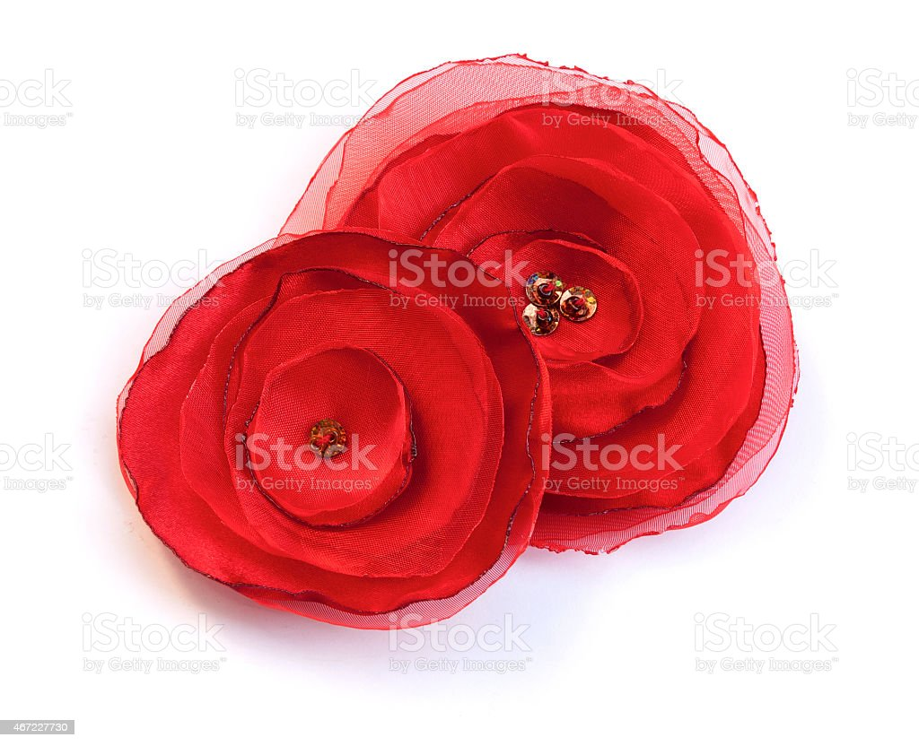 Two Red fabric flowers closeup royalty-free stock photo