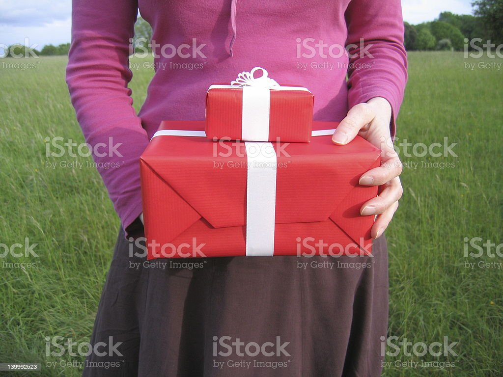 two red gift boxes royalty-free stock photo