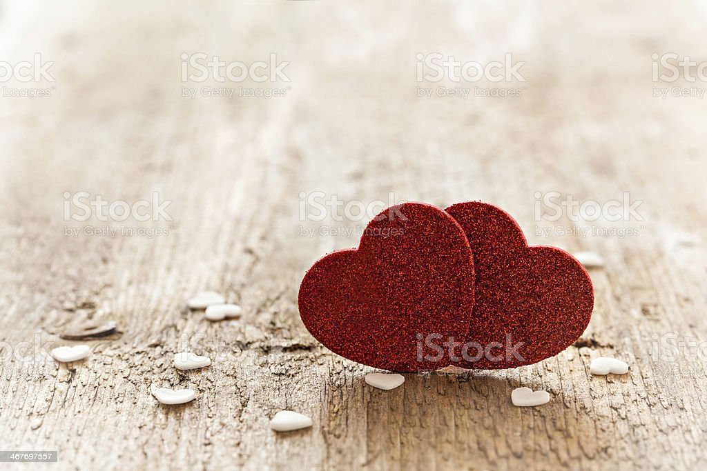 two red heart shapes royalty-free stock photo