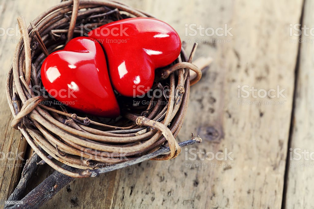 Two red hearts in bird's nest royalty-free stock photo