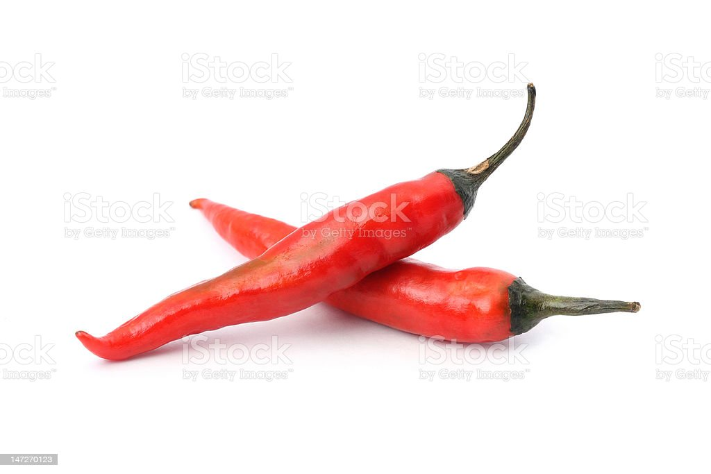 Two Red Hot Chili Peppers royalty-free stock photo