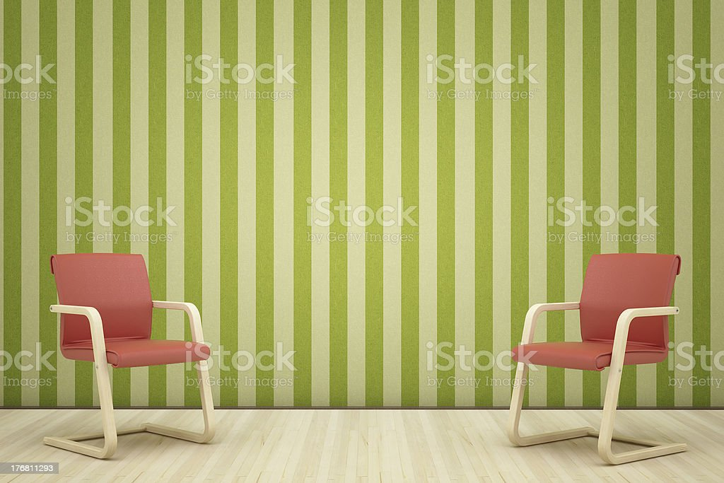 two red leathe armchair stock photo