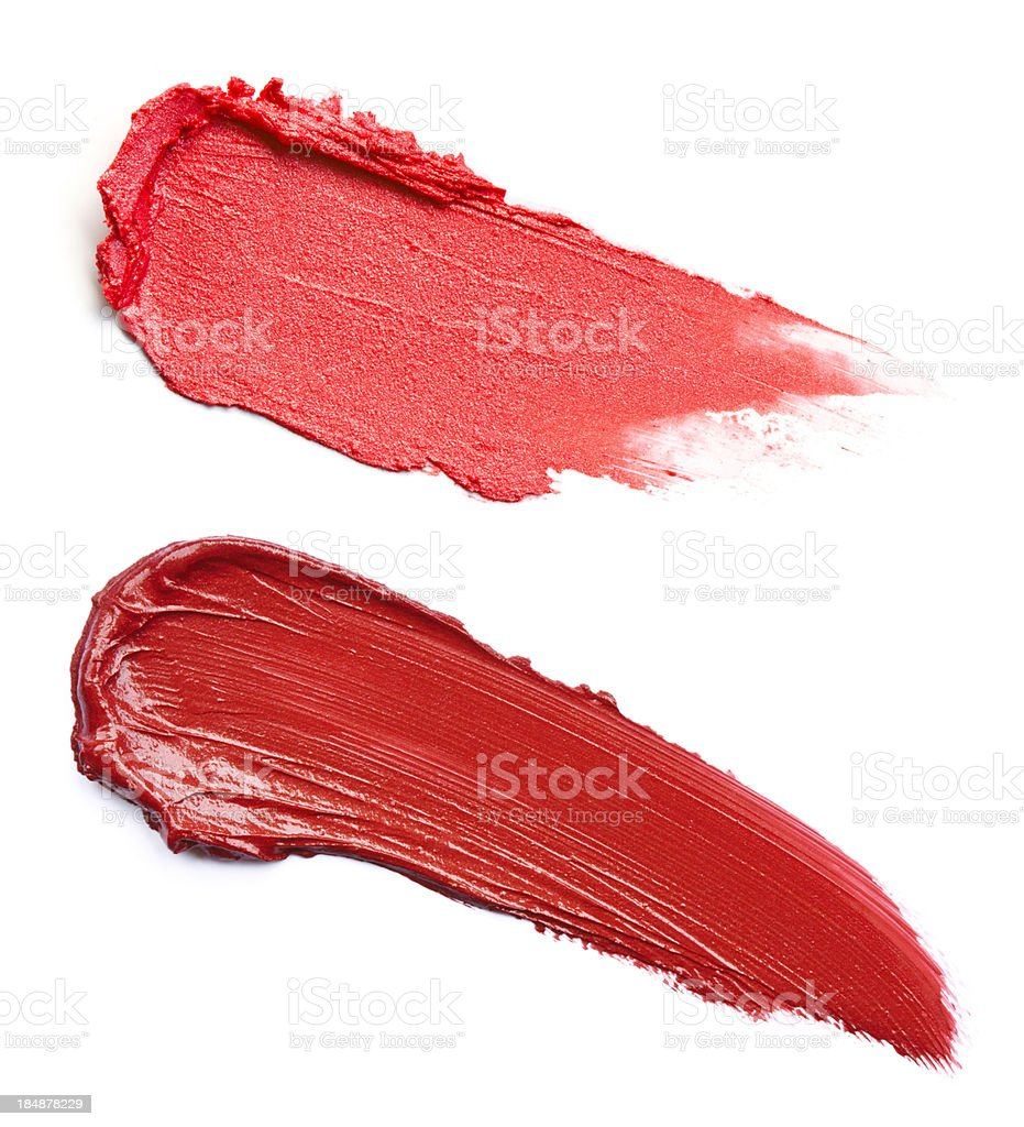 Two red lipstick smeared royalty-free stock photo