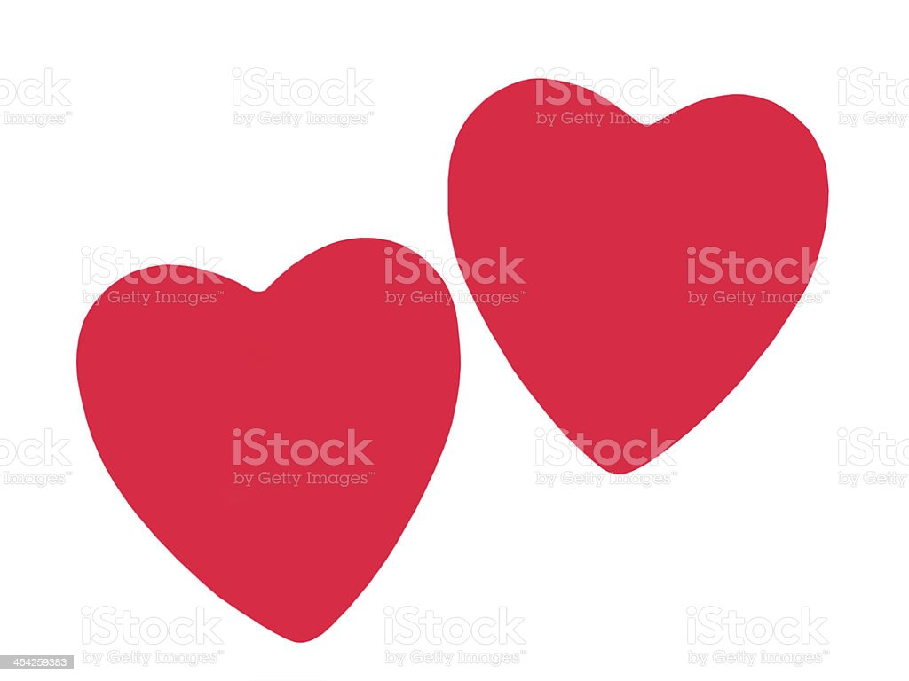 Two red love heart.Isolated. stock photo