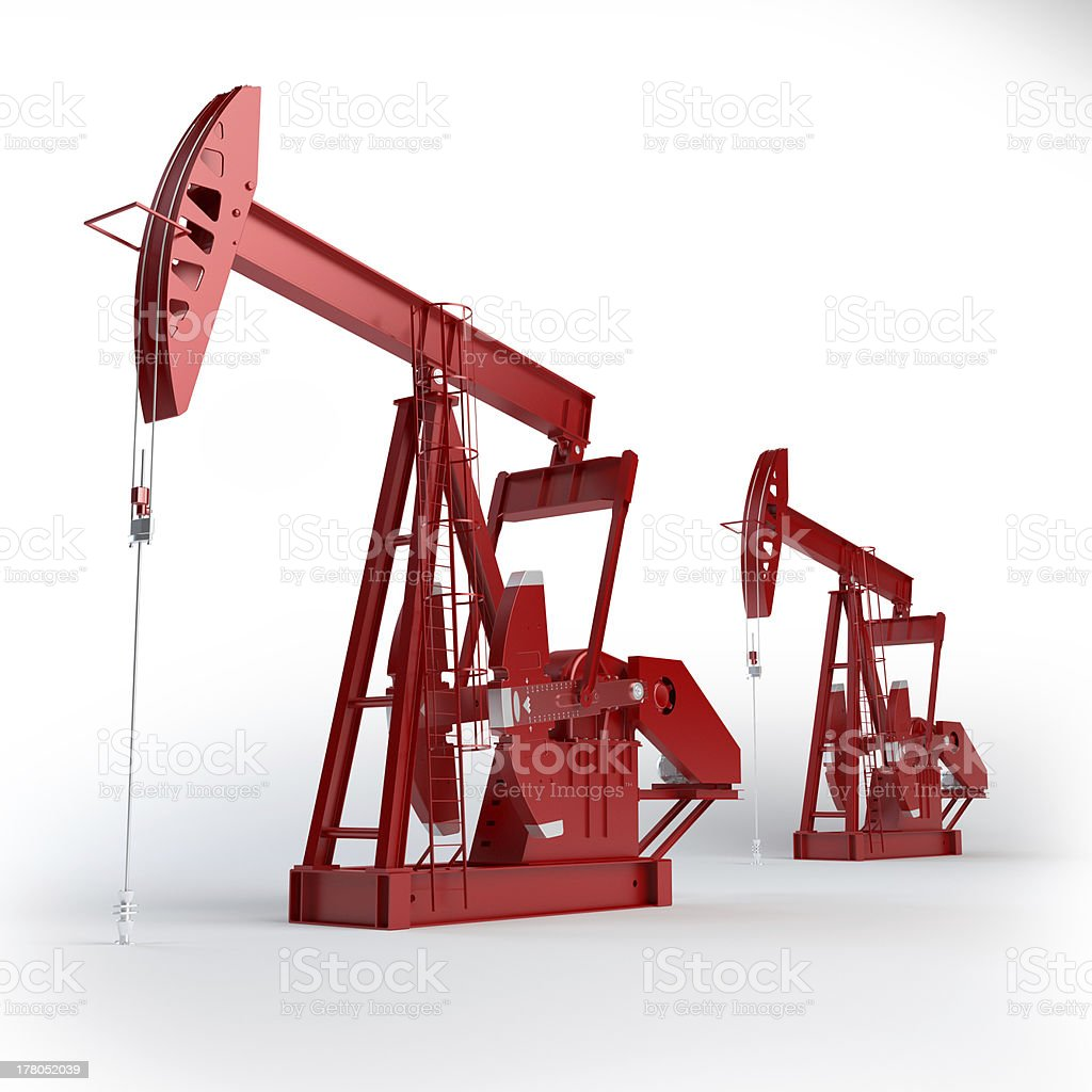 Two Red Oil pumps industry equipment. stock photo