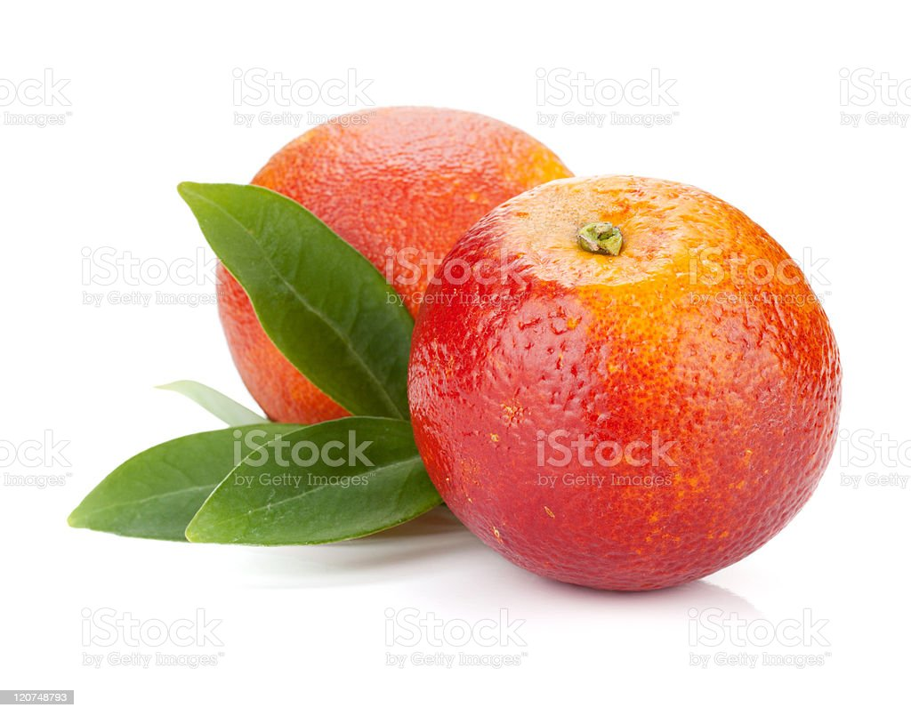 Two red oranges stock photo