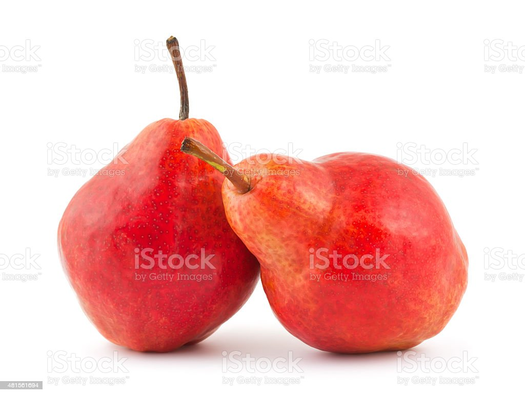 Two red pears stock photo