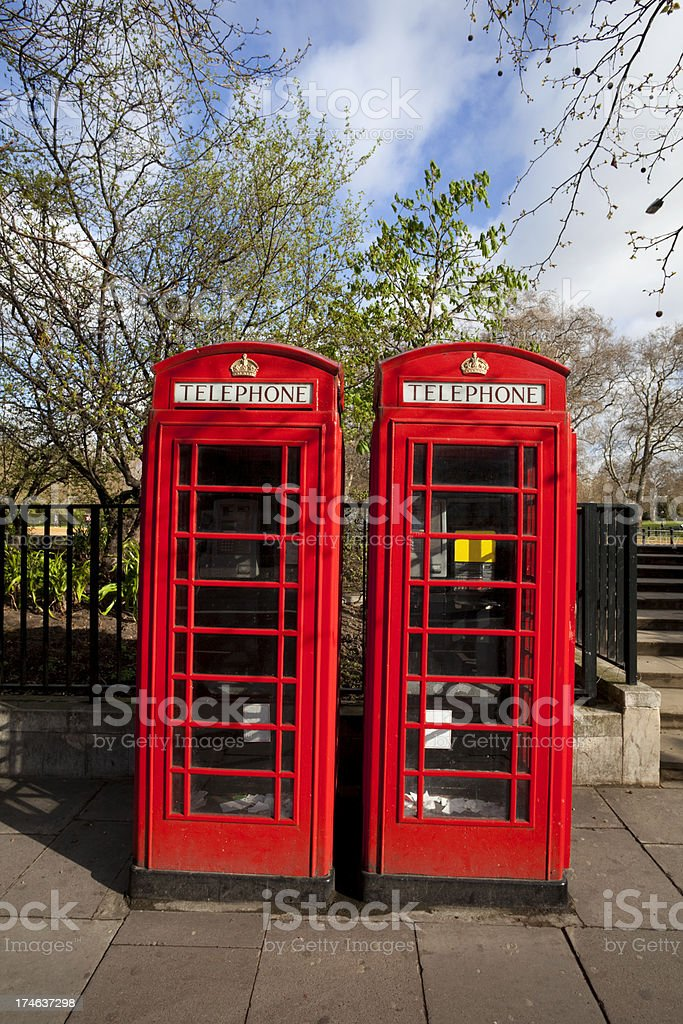 Two Red Phoneboxes royalty-free stock photo