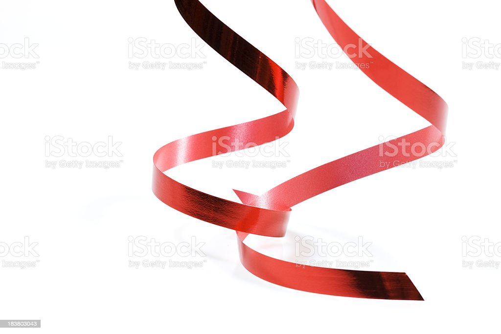 two red ribbons on white royalty-free stock photo