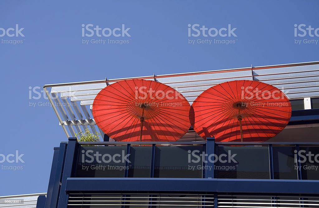 two red sunshades royalty-free stock photo
