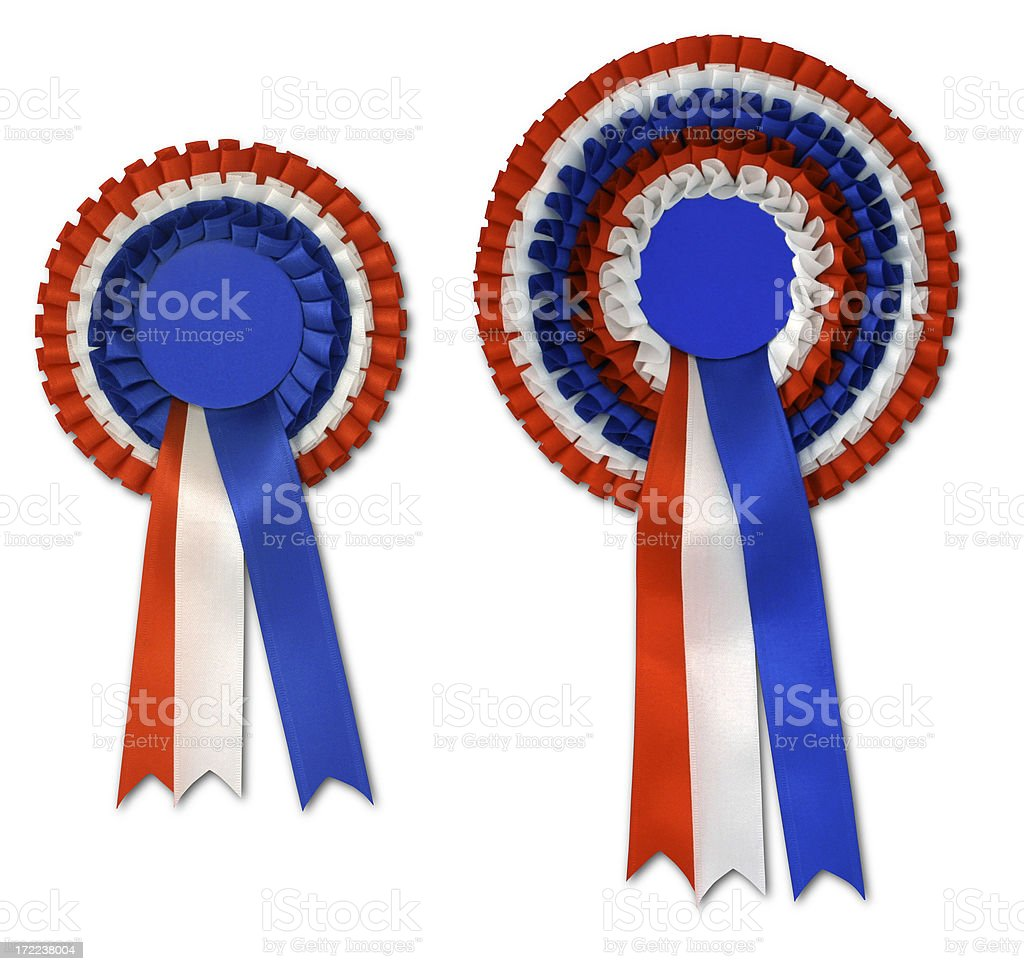 Two Red, White & Blue Satin Rosettes royalty-free stock photo