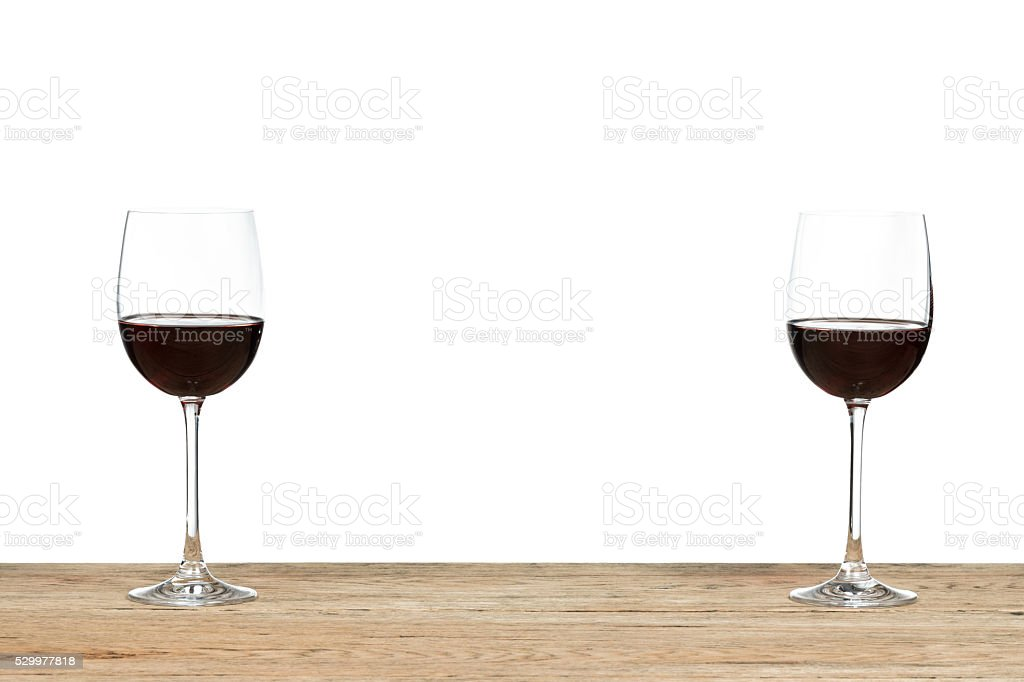 Two red wine glass stock photo