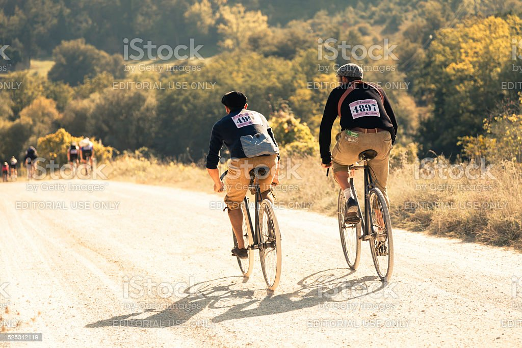 Two retro revival cyclists during l'Eroica near Siena stock photo