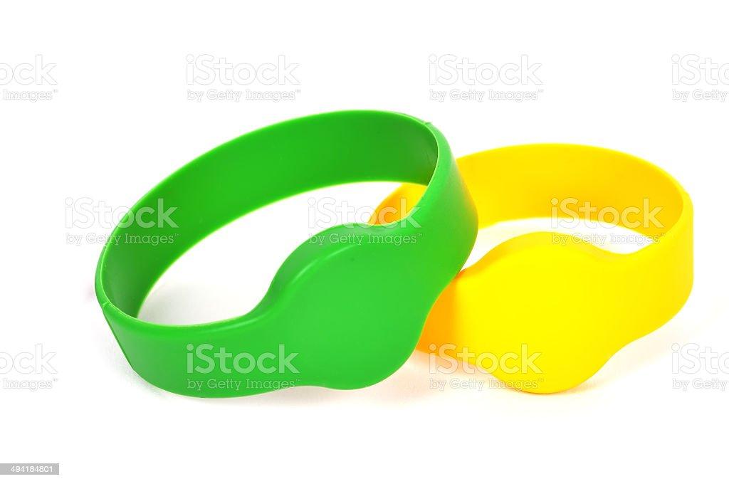 two rfid bracelet stock photo