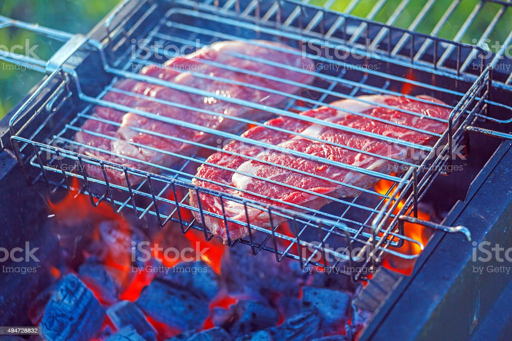 Two Ribeye Steaks Barbecue Cooking stock photo