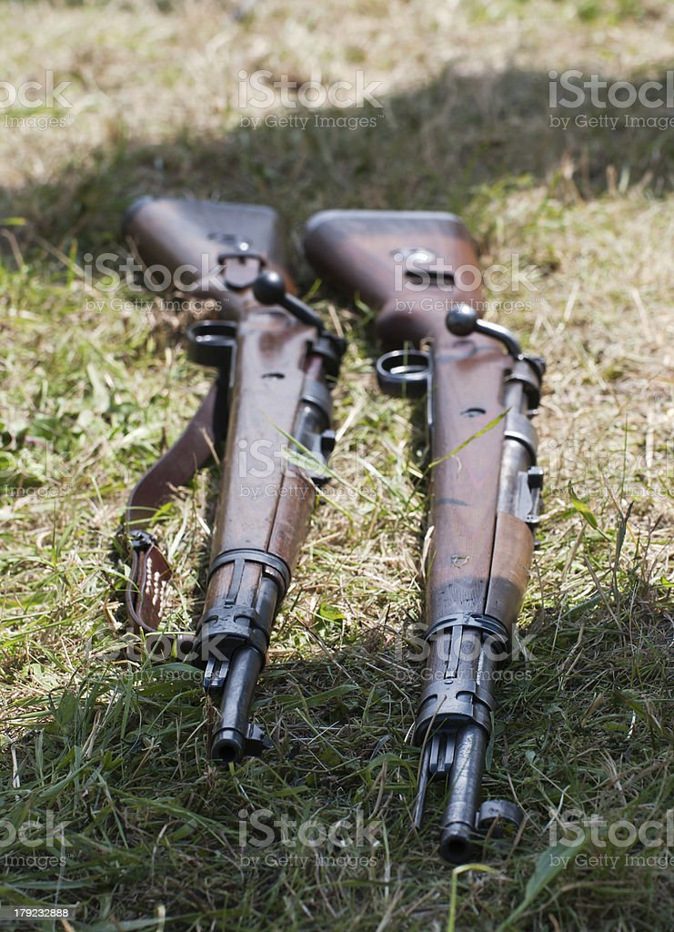 Two rifles in the grass royalty-free stock photo