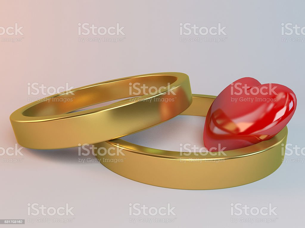 two rings and a heart 3d stock photo