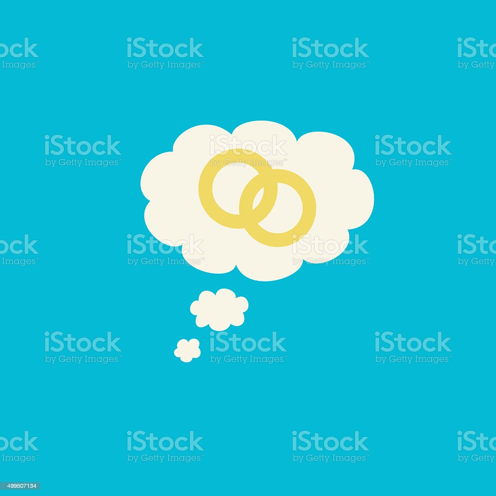 Two rings inside a thought bubble marriage graphic stock photo