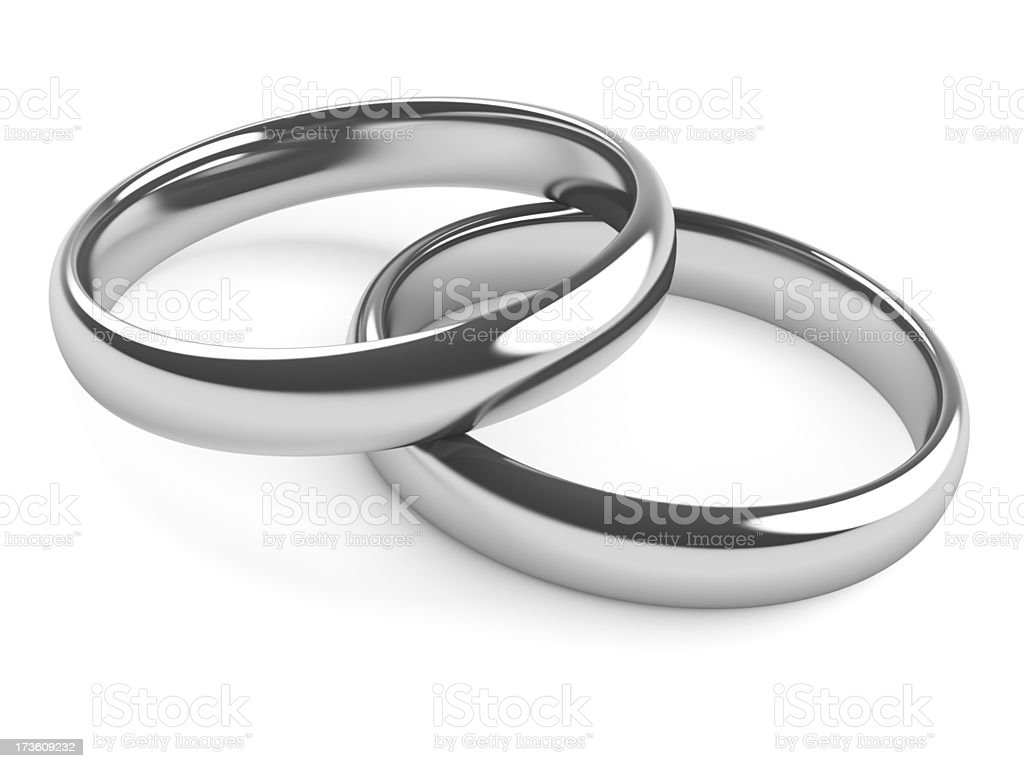 Two Rings - Platinum or Silver stock photo