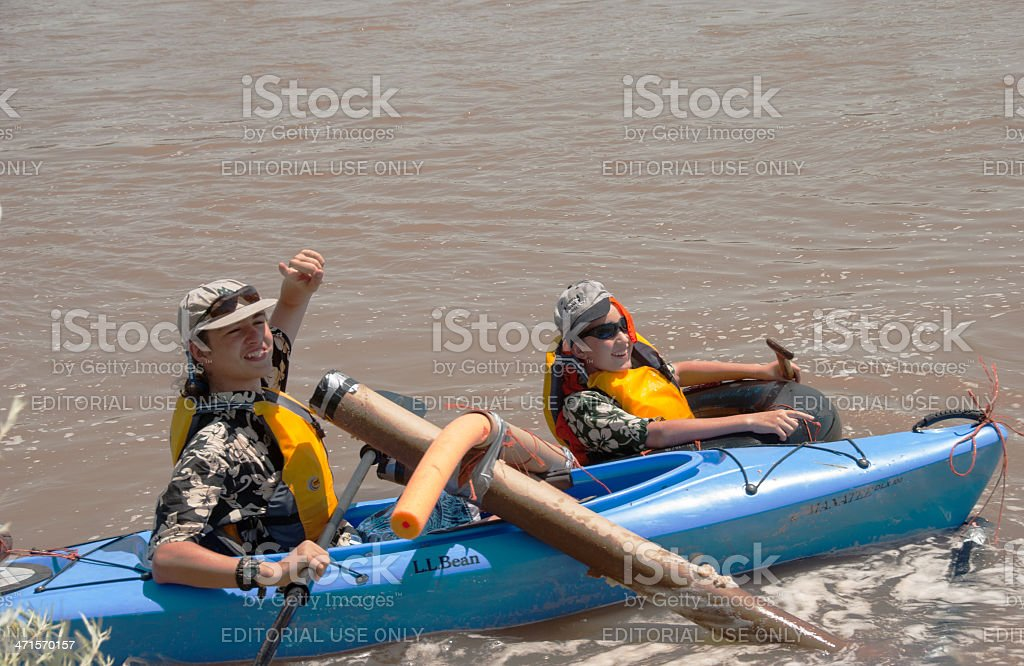 Two Rio Grande Rafters Celebrate Finish Line royalty-free stock photo