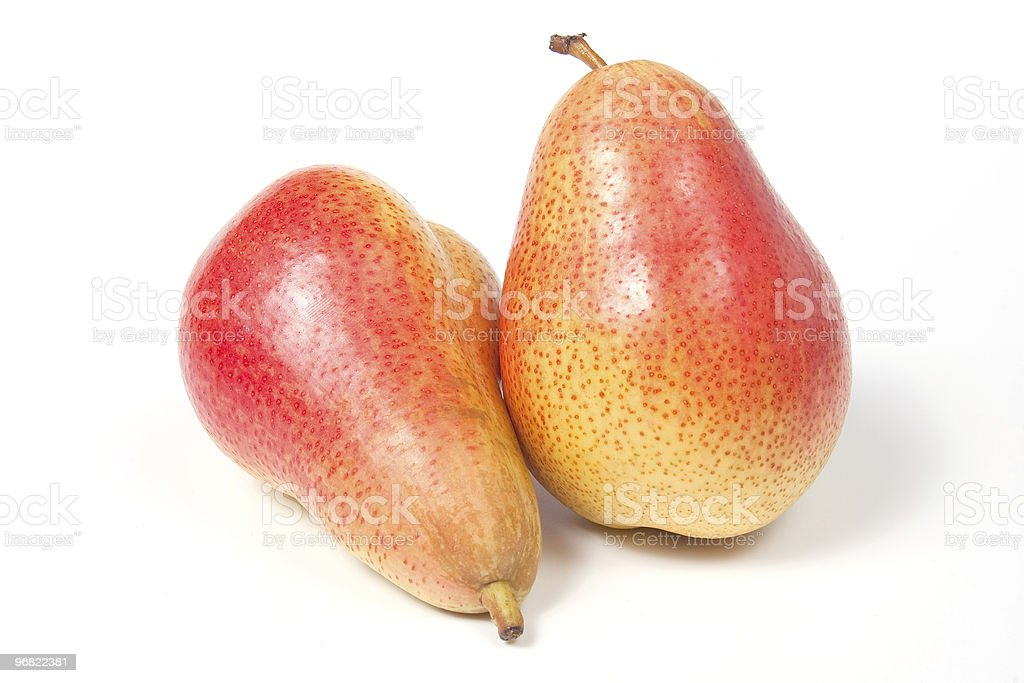 Two ripe pears, isolated on white stock photo