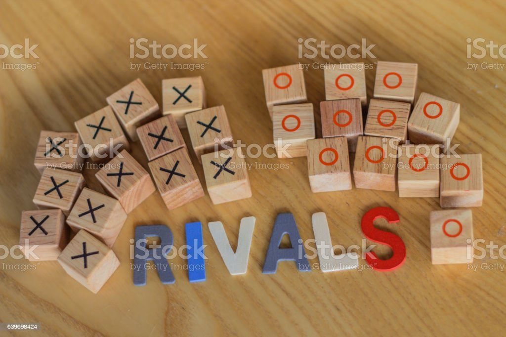 Two rival teams in competition for the medal and challenging stock photo