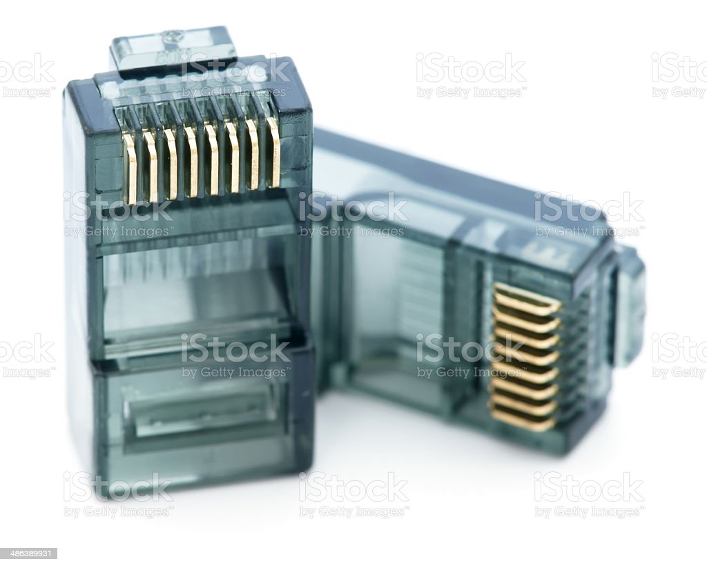 Two RJ45 connectors on white royalty-free stock photo