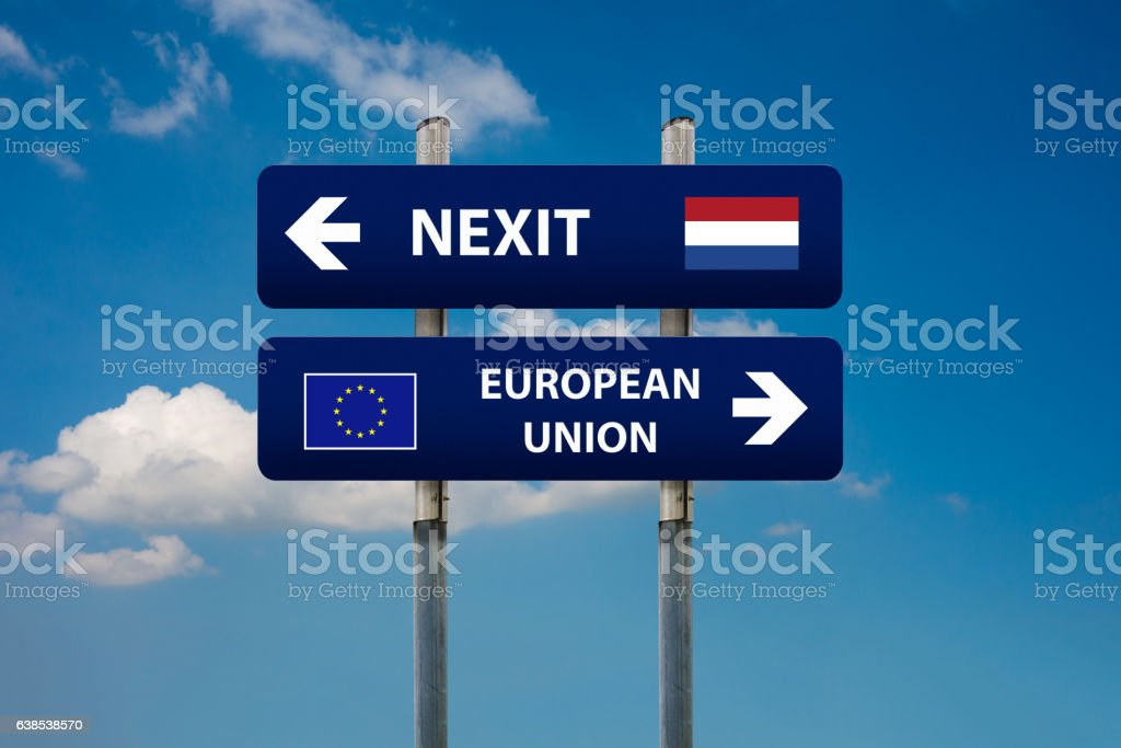 two road signs, dutch elections (nexit)  and european union stock photo