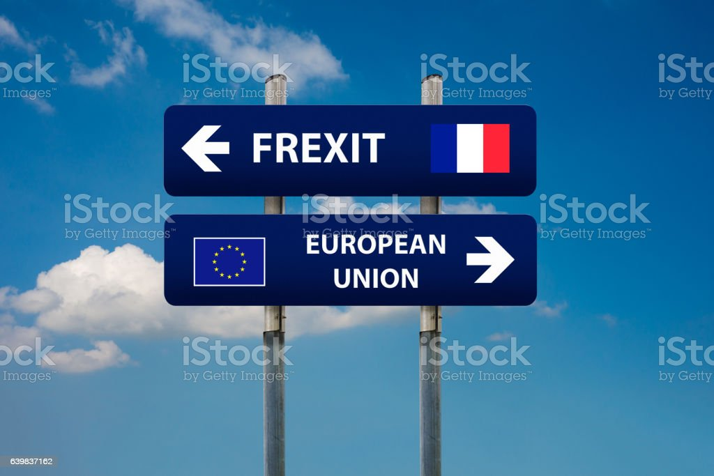 two road signs, french elections (frexit)and european union stock photo