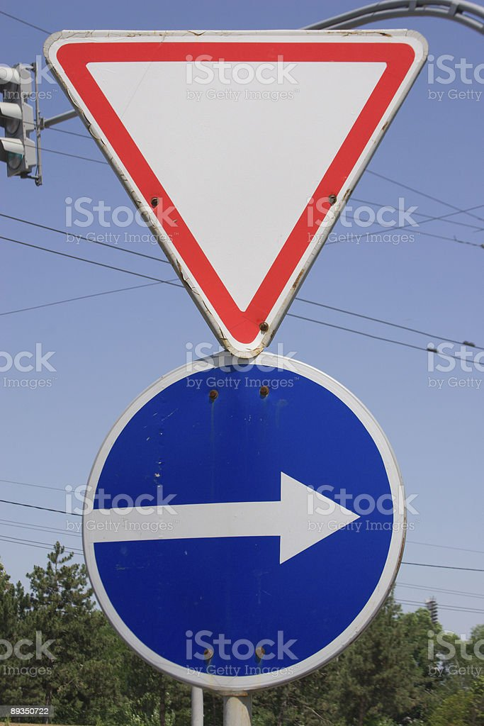 Two road signs stock photo