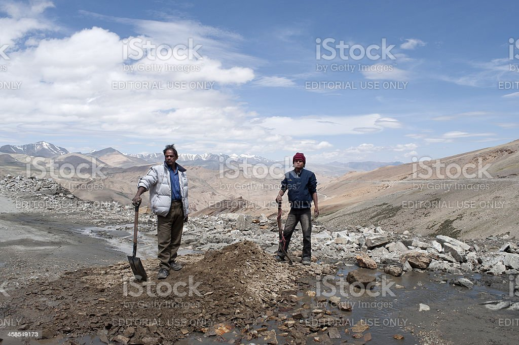 Two Road Workers in Indian Himalaya royalty-free stock photo