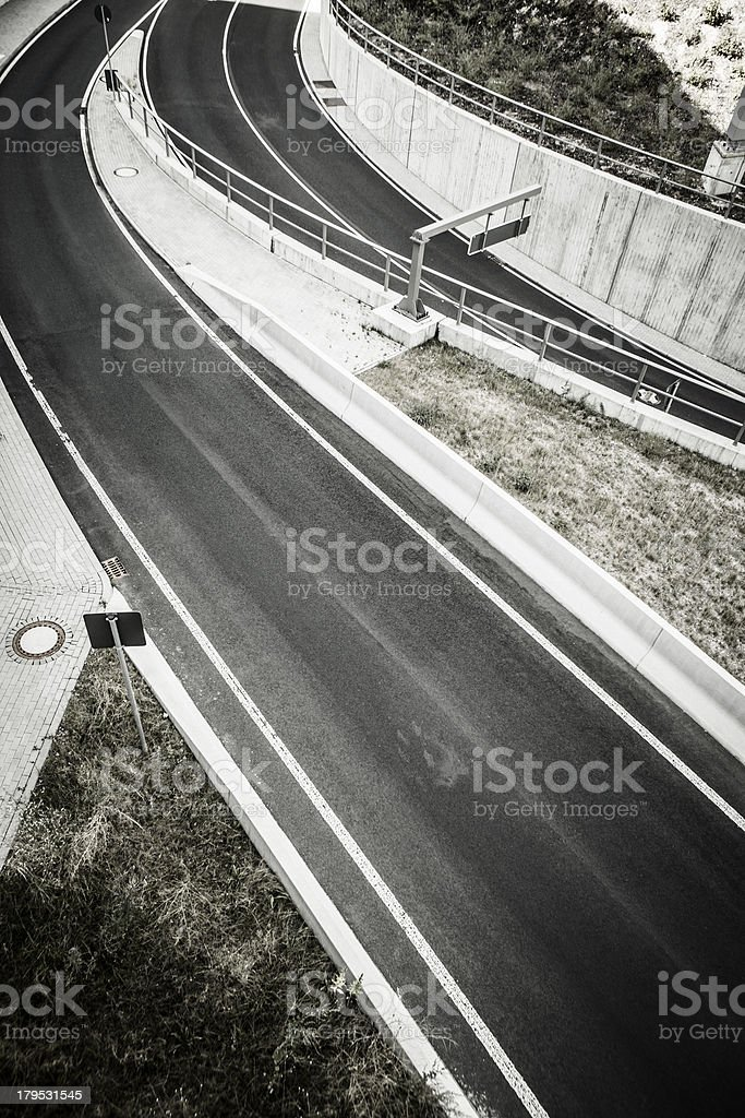 Two roads - view from above royalty-free stock photo